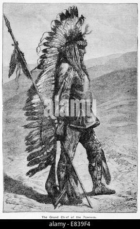 Grand Chief of the Pawnees circa 1885 - Stock Image
