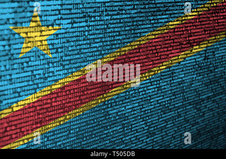 Democratic Republic of the Congo flag  is depicted on the screen with the program code. The concept of modern technology and site development. - Stock Image