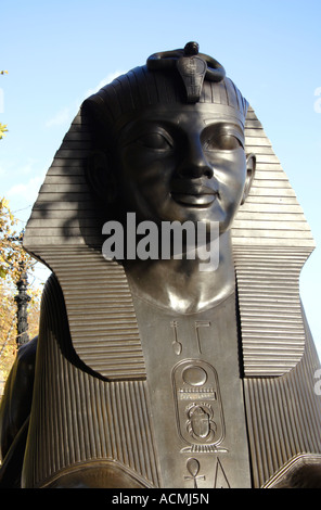 Sphinx at Cleopatras Needle London - Stock Image