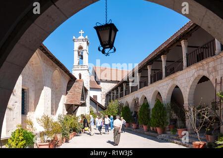 Entrance to Chrysorrogiatissa Monastery, Pano Panagia, Troodos Mountains, Limassol District, Republic of Cyprus - Stock Image