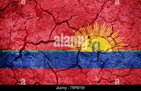 Carabobo State flag, state of Venezuela, on dry earth ground texture background - Stock Image