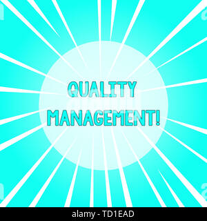 Text sign showing Quality Management. Business photo text Maintain Excellence Level High Standard Product Services Sunburst Explosion Different Size W - Stock Image