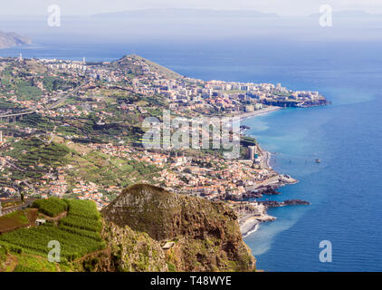 Aerial view of Funchal, the capital of Madeira island, Portugal, as seen from Cabo Girao Skywalk viewpoint. - Stock Image