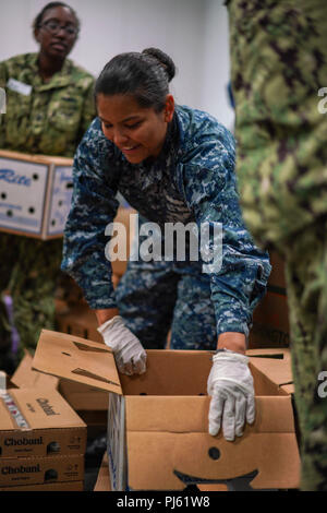 180831-N-FA490-1158 LOS ANGELES (Aug. 31, 2018) Ship's Serviceman Seaman Demi Massari, a native of Olympia, Washington and assigned to the Arleigh Burke-class guided missile destroyer USS Dewey(DDG105), sorts food at the Los Angeles Regional Food Bank on a community relations project during Los Angeles Fleet Week (LAFW). LAFW is an opportunity for the American public to meet their Navy, Marine Corps and Coast Guard teams and experience America's sea services.  During fleet week, service members participate in various community service events, showcase capabilities and equipment to the communi - Stock Image