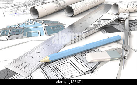 Blue Theme Architectural house drawings and sketches. Rolls, Ruler, Pencil, Eraser and Divider of metal. Shallow - Stock Image