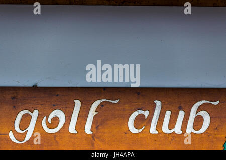 Golf club - caption on a wooden plank. - Stock Image