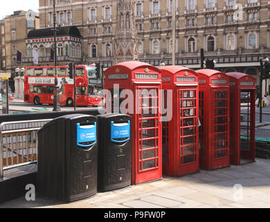 Telephone boxes The Strand London - Stock Image