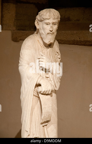 Medieval limestone carving of Saint Andrew from the tomb of Saint Lazare dated 1150 to 1170 AD now in Rolin Museum - Stock Image