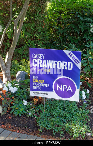 NPA campaign sign for the 2018 Vancouver Municipal Elections in a front yard, Vancouver, BC, Canada - Stock Image
