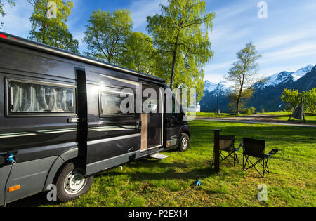 Spring, Camper, Wohnmobil, Campsite, Romsdal, Norway, Europe - Stock Image