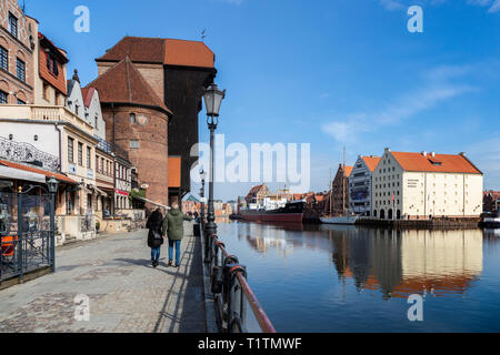 Gdansk old town waterfront promenade, Poland - Stock Image