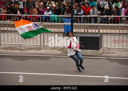 A ptriotic Indian woman attends the Attari-Wagah border closing the day after the Jaish-e-Mohammed terrorist attack in Indian-administered Kashmir. - Stock Image