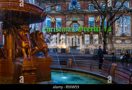The fountain in town hall square Leicester. - Stock Image