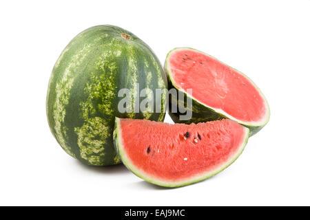 Fresh juicy watermelon isolated on white background, fruit - Stock Image