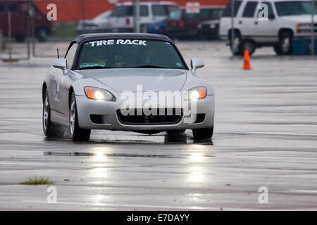 A 2002 Honda S-2000 Convertible in an autocross race at a regional Sports Car Club of America (SCCA) event - Stock Image