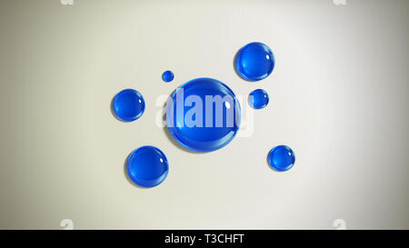 Abstract background with blue glass drops. 3D render illustration. - Stock Image