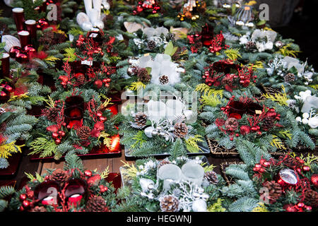 Christmas decoration on a market stall table - Stock Image