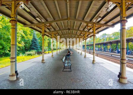 Covered railway station platform, Sopot, Poland - Stock Image