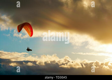 paraglider paragliding over the clouds at sunset - Stock Image