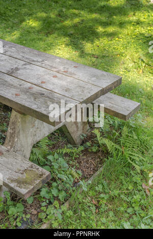 Public / community picnic bench in autumn sunshine. - Stock Image