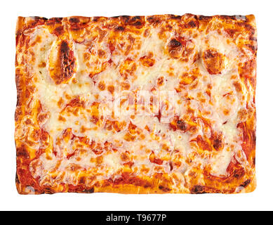 Classic bakery cooked rectangular Margherita Pizza topped with melted mozzarella cheese and tomato on a crispy base viewed top down isolated on white - Stock Image