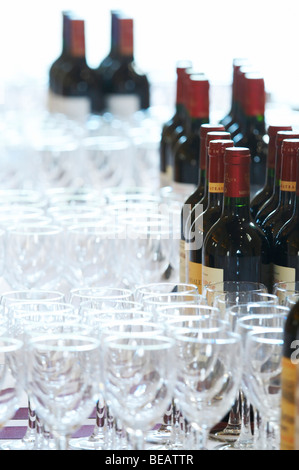 empty glasses and bottles for wine tasting saint emilion bordeaux france - Stock Image