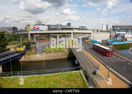 Road, rail, Underground, DLR and river interchanges on a sunny day at Olympic Park, London 2012 Olympic Games site, - Stock Image
