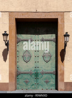 Close-up of the door of Santa Maria de Gracia church, in Cartagena, Murcia, Spain. It was built between 1713 and 1779. - Stock Image