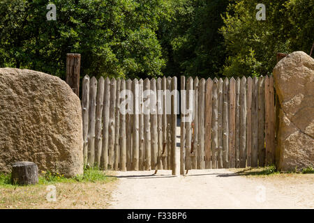 A gate at Le Village Gaulois, Cotes d'Armor, Brittany, France, Europe. - Stock Image