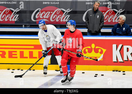Bratislava, Slovakia. 19th May, 2019. L-R Czech ice hockey forwards Jan Kovar and Filip Chytil and manager Petr Nedved and head coach Milos Riha attend a training session of the Czech national team prior to today's match against Austria at the 2019 IIHF World Championship in Bratislava, Slovakia, on May 19, 2019. Credit: Vit Simanek/CTK Photo/Alamy Live News - Stock Image