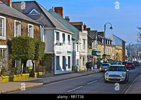 A general street view of the High Street in Cowbridge with it's eclectic mix of famous brands and small local specialist shops. - Stock Image