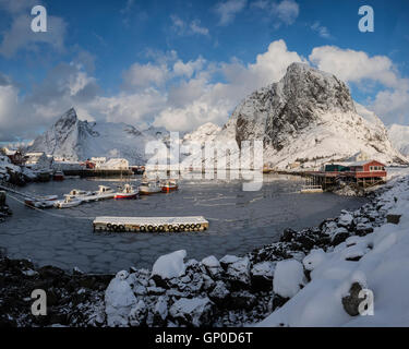 Frozen harbor at Hamnøy in winter, Moskenesøy, Lofoten Islands, Norway - Stock Image