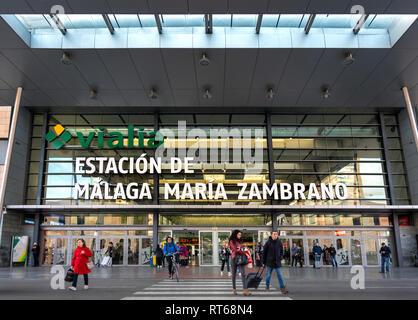 Malaga train station Estacion Malaga Maria Zambrano - Stock Image