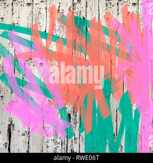 Living coral green and pink graffiti illustration over high resolution wooden wall with peeling paint photo illustration for spring concept - Stock Image