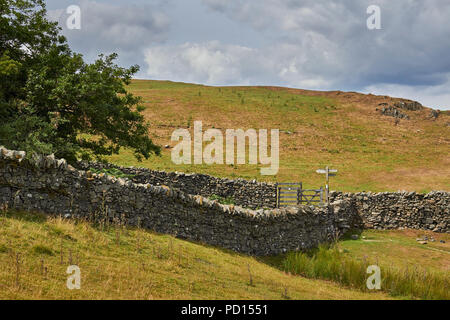 pastures, stone walls, and a trail junction sign. Lake District National Park, Windemere, Cumbria, England, UK - Stock Image