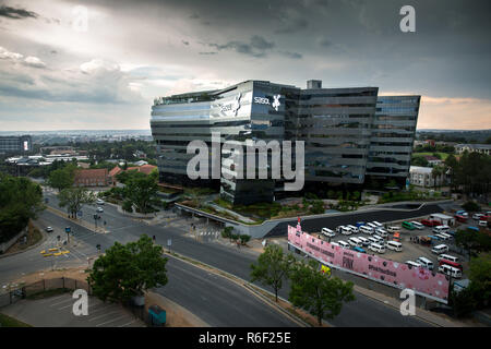 Sandton, South Africa - November 24, 2018: The newly completed construction of the Sasol petroleum manufacturers in the Sandton CBD - Stock Image