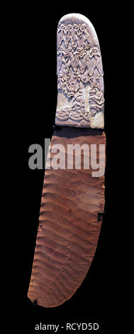 6395. Knife with highly decorated ivory handle and Flintstone blade, Gabel el-Arak, south of Abydos, Egypt, c. 3300-3200 BC. - Stock Image