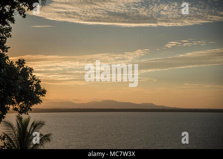 Sunset seen from the Wewak Hill, East Sepik Province, Papua New Guinea - Stock Image