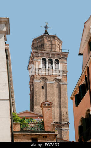 Campanile or bell tower seen from Campo San Stefano Venice Italy in June sunshine - Stock Image