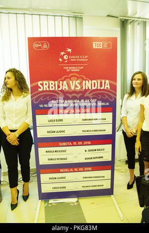 Kraljevo, Serbia. 13th September 2018. The results of the draw are displayed during previews for the Davis Cup 2018 Tennis World Group Play-off Round at the Sportski Center Ibar in Kraljevo, Serbia. Credit: Karunesh Johri/Alamy Live News. - Stock Image