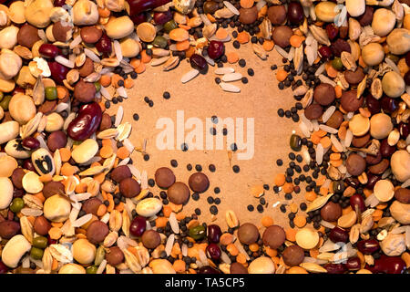 Various seed and pulses on a plain brown background - Stock Image