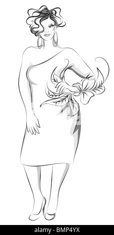 Plus-size fashion illustration - Stock Image