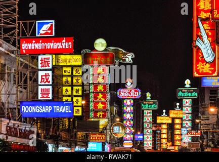 Neon lights in Bangkok in Thailand - Stock Image