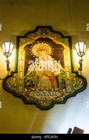 Tiled street shrine of Our Lady of Hope, Granada, Andalucia, Spain - Stock Image