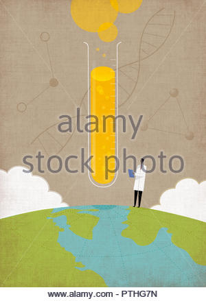 Scientist doing genetic research on top of globe - Stock Image