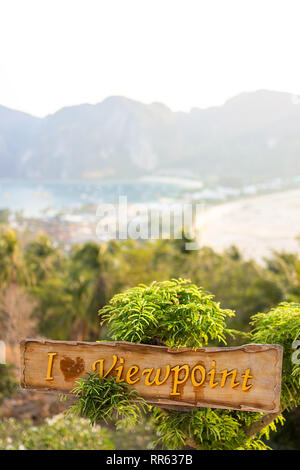 The 'i Heart viewpoint' at the tourist sunset viewpoint on Phi Phi island, south Thailand. - Stock Image