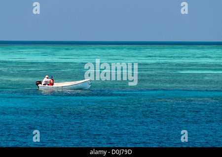 A father and his young son look drive a dinghy along the edge of the reef on Swains Reef on the southern end of - Stock Image