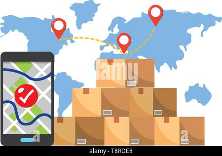 box with cellphone showing a map and a check and a map behind with location pointer vector illustration graphic design - Stock Image