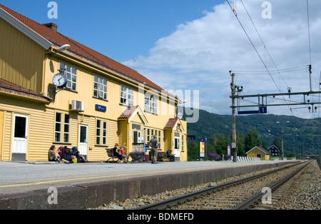 Trains station Gol, Norway - Stock Image
