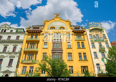 Prague hotel, the front of the art nouveau style Grand Hotel Europa in Wenceslas Square in central Prague, Czech Republic. - Stock Image